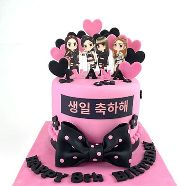 Black pink 糖牌翻糖 牛油蛋糕