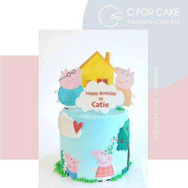 Peppa pig Family 數碼打印 Cream Cake