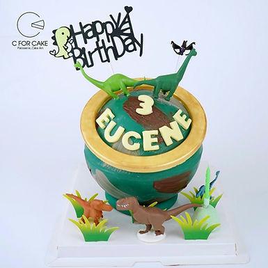 迷彩恐龍主題 扑爆蛋糕