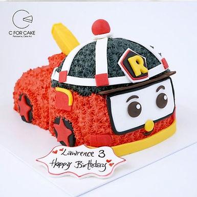 robot car 消防車  吱花蛋糕