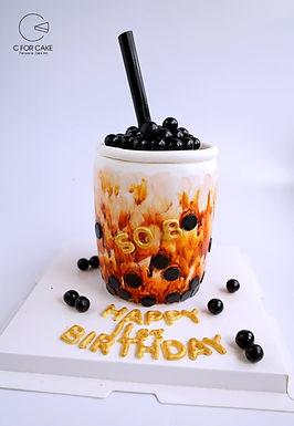 珍珠奶茶 造型翻糖牛油蛋糕