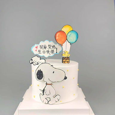 簡約Snoopy 主題 數碼打印 Cream Cake