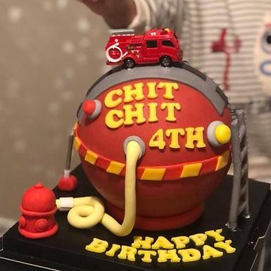 真.玩具 消防車主題 扑爆蛋糕