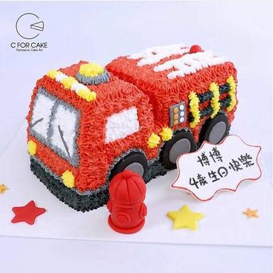 消防車  吱花蛋糕