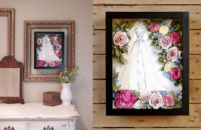 Custom Illustration with preseverd bouquet
