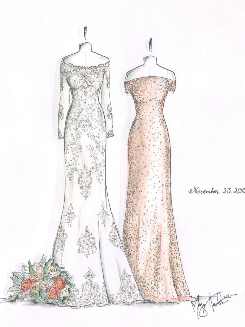 Bridal Gown Illustraion with MOB Gown