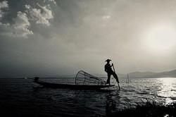 Leg rowing Fisherman.Inle lake, Myanmar.