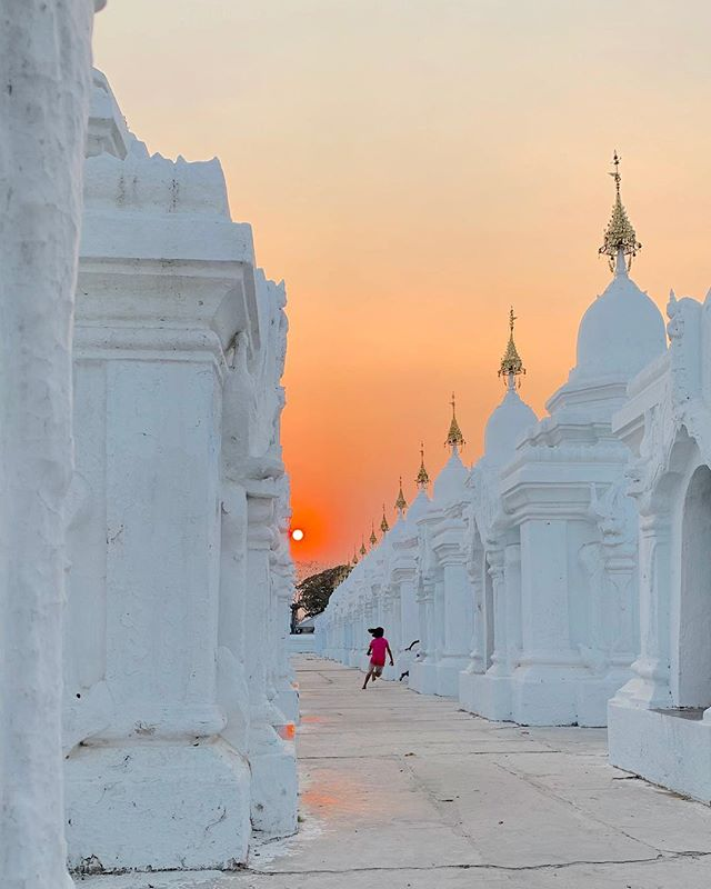 Sunset at the pagoda.Mandalay, Myanmar.