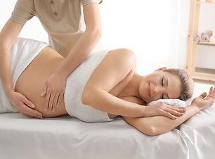 Young beautiful pregnant woman having ma