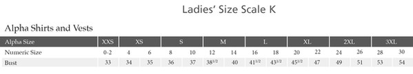 Edwards Garment Size Chart