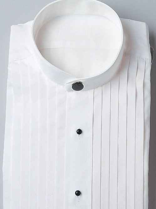Banded Collar Pleated Shirt