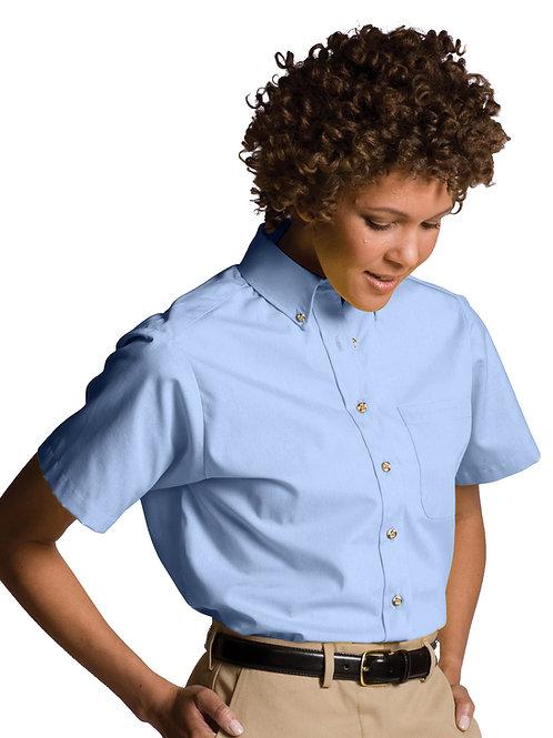 Poplin Button Down Collar Short Sleeve-Women's