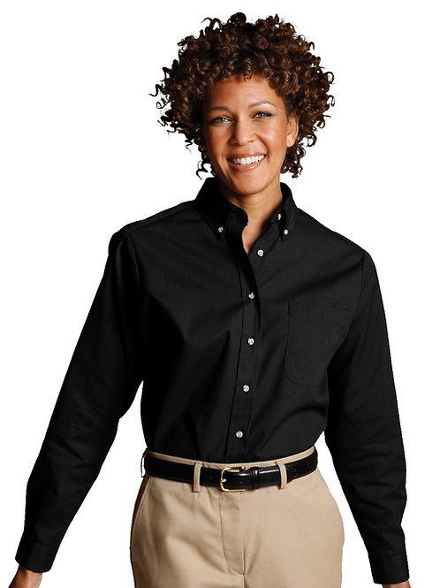 Poplin Button Down Collar Shirt-Women's