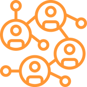 icon of people conneced in circles