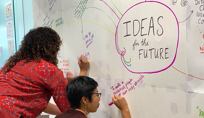 "two people drawing on a whiteboard that says ""Ideas for the future"". One person is writing ""to make a revolution,people must not only struggle..."" there is a variety of writing on the wall"