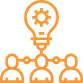 icon of three humans connected to a lightbulb to insinuate an idea