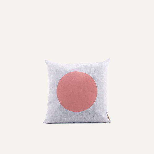 Cushion • natural linen • rusty red dot