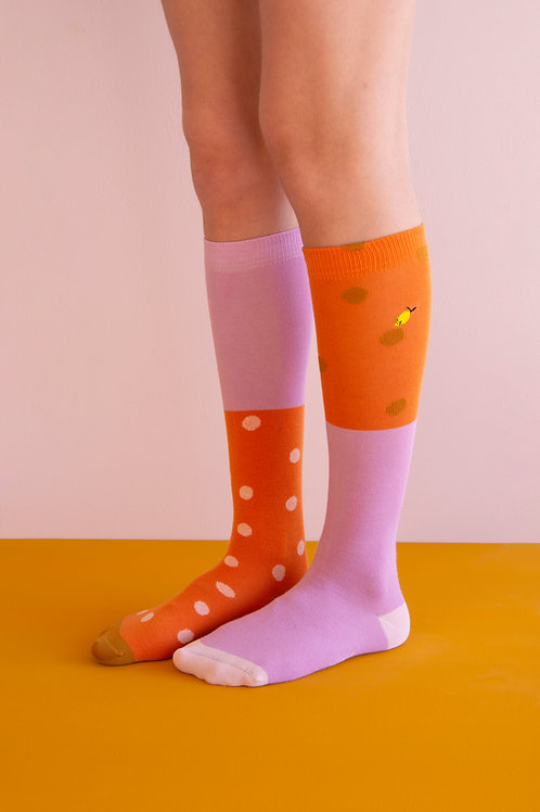 knee high socks | coloured freckles | carrot orange + pirate purple
