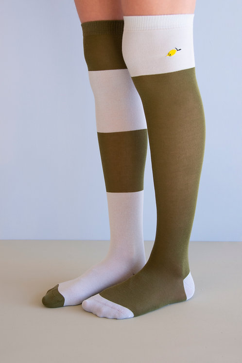 Over the knee socks | wanderer | seventies green + sky blue