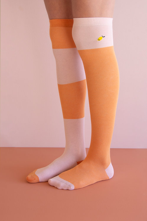 Over the knee socks | wanderer | faded orange + candy pink