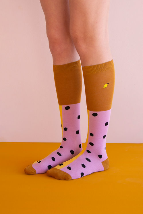 knee high socks | black freckles | pirate purple + retro yellow