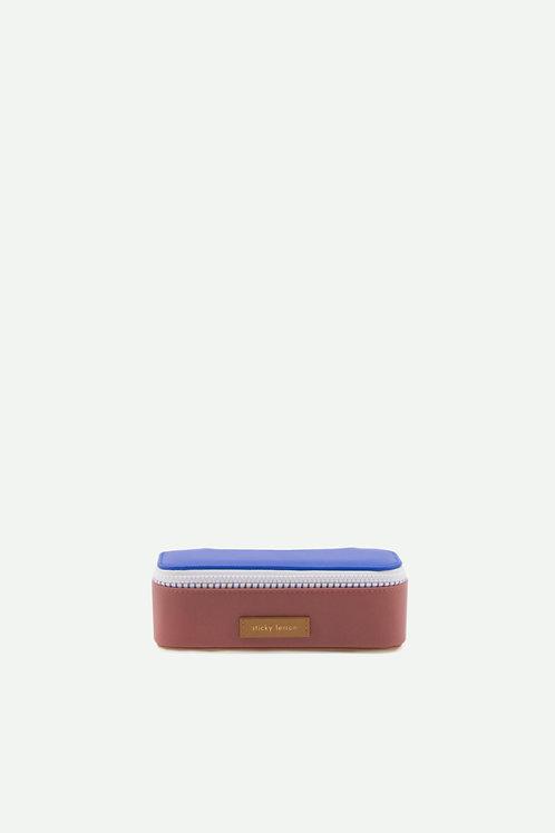 pencil case deluxe | ink blue + hotel brick + sugar brown
