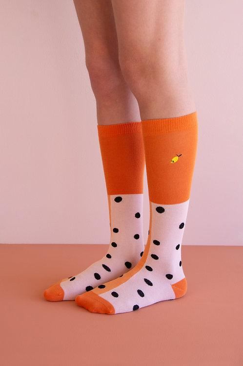knee high socks | black freckles | candy pink + faded orange