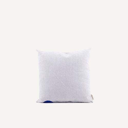 Cushion • natural linen • ink blue dot