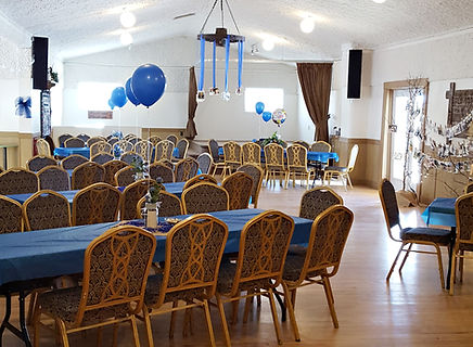 Event decor at Square Butte Hall