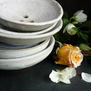 Ceramic hand made draining soap dishes.J