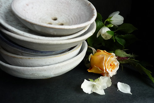 Hand made ceramic soap dishes round soap