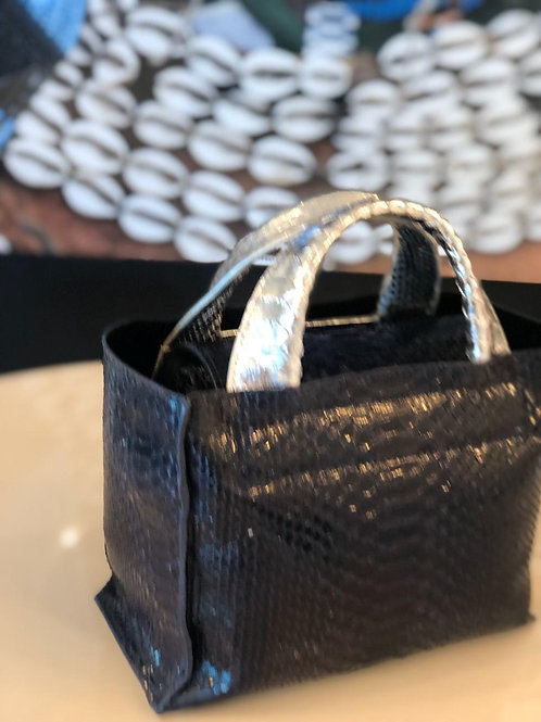 Bolsa Minibag Python Preto/Prata