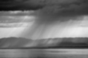 Strange weathery day on the 5th of June 2019 on lake Léman, Switzerland.