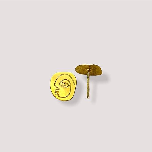 Punu Gold Pin Earrings