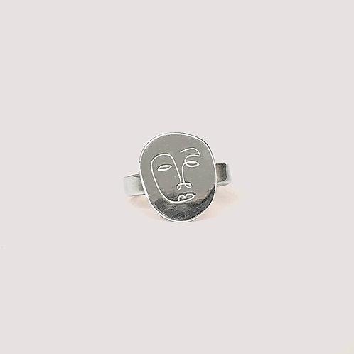 Okame Flat Silver Ring