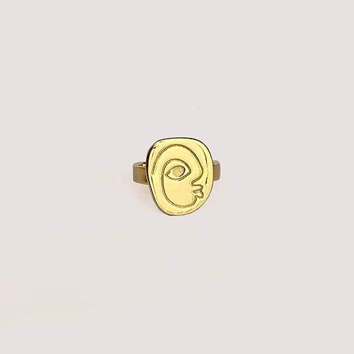 Punu Flat Gold Ring