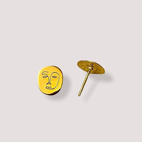 Okame Pin Gold Earring