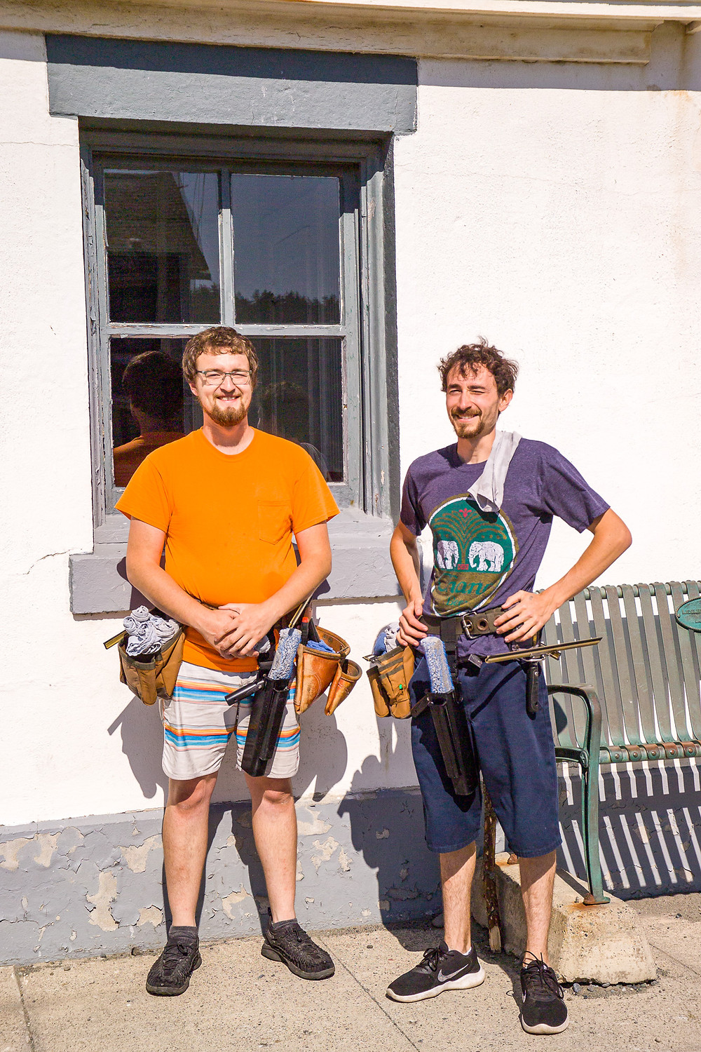 Photo of Lukas Hubbard and Jackson Mifsud with the newly cleaned windows