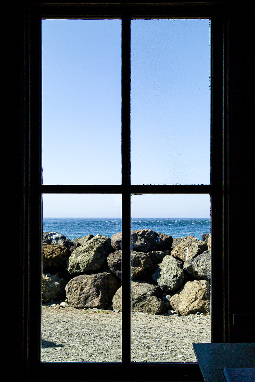 Photo of view through clean lighthouse window