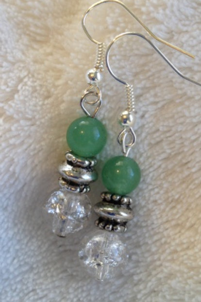 Aventurine and Glass Bead Earrings