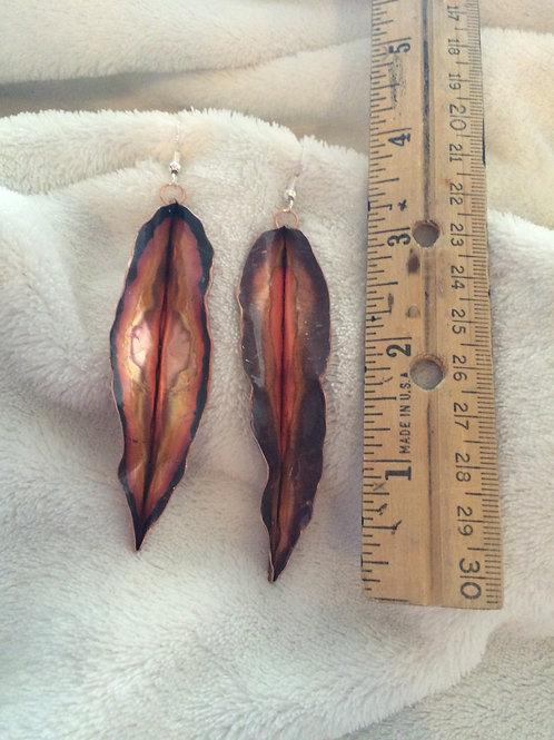 Folded Copper Leaf Earrings