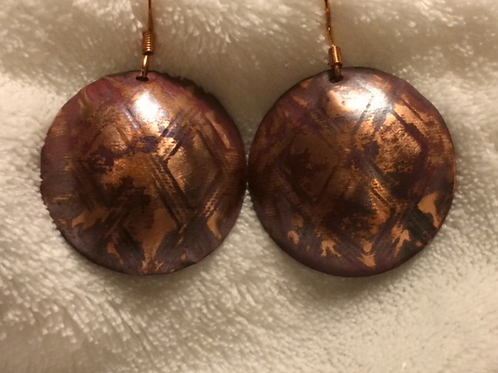 Copper Dome Earrings with Diamond Pattern