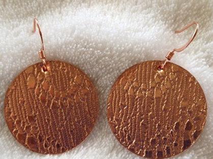 Lace Patterned Copper Disc Earrings
