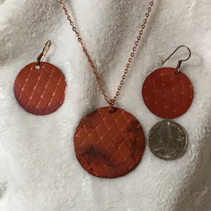 Copper Diamond cut Pattern Necklace & Earrings