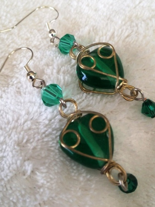 Green Heart Dangle Earrings