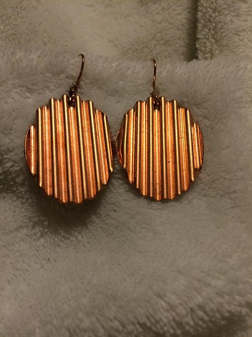 Crinkle Copper Oval Earrings
