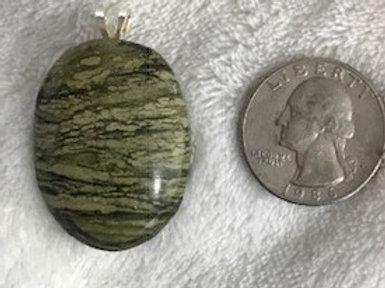 Green Striped Stone Pendant