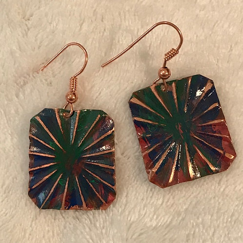 Copper Burst Earrings with Color Patina