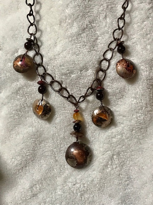 Handmade Copper Bead Necklace with Carnelian