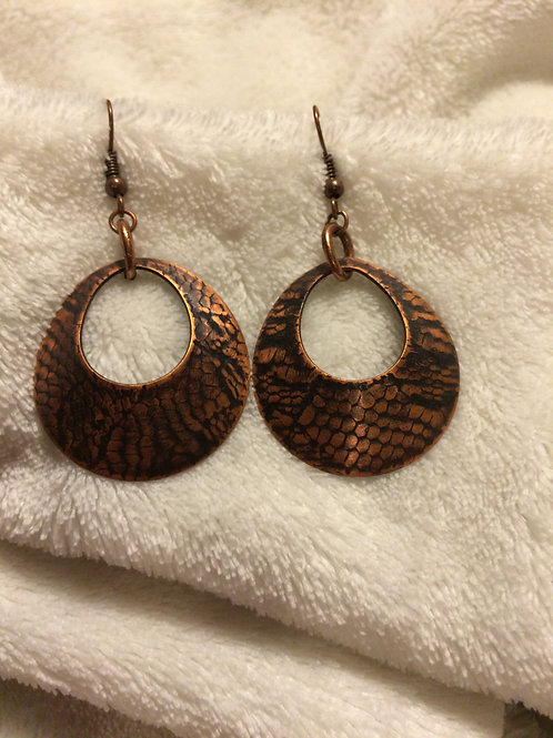 Snake Patterned Copper Domed Teardrops